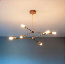 MID CENTURY  BRASS ATOMIC CHANDELIER LIGHT FITTING 6 BULB ARMS SPUTNIK