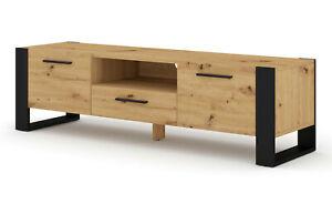 Nuka tv unit low oak 160 cm artisan white