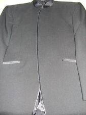 Men's SIZE 38R Black JEAN YVES European Style Tuxedo Jacket with Mandarin Collar