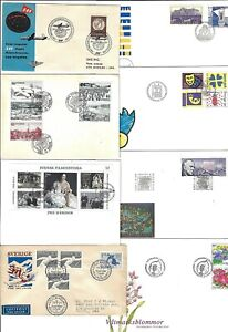SWEDEN 1950 90s COLLECTION OF 17 FDCs VARIOUS COMMEMORATIVES