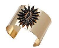Damen Blumen Kristall Armreif Gold Schwarz Armband Manschette Armspange Ketten