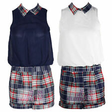 Collared Checked Sleeveless Jumpsuits & Playsuits for Women