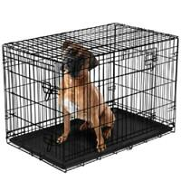 "Dog Crate Kennel 48"" Folding Pet Cage Metal XL Single Door with Divider Black"