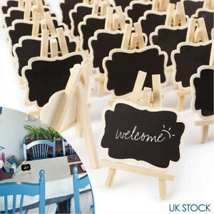24 Mini Wooden Blackboard Wedding Party Chalkboard Sign Message Table Stand UK