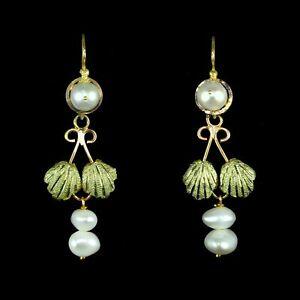 Lovely Mexican long handmade gold baroque pearls estate dangle earrings M-F