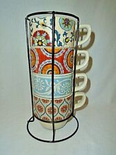 Pier One Set 4 Stacking Coffee Mug Cups Wire Rack Holder Boho Blue Mint