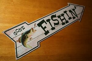 Rustic Country Primitive GONE FISHING Arrow Sign Bass Fisherman Cabin Decor NEW