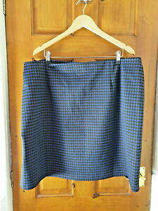 M&S Collection Size 22 Smart Casual Evening Office Work Blue Black Check Skirt