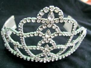 Vintage Rhinestone Tiara Prom Pageant Clear Sparkly Large