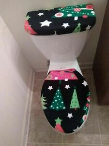 Christmas Eve Trees Fleece Toilet Lid & Tank Cover Set. Bathroom Accessories