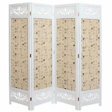 MyGift Asian Oriental Design Large White & Beige Wooden 4 Panel Folding Room