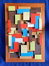 Vintage Mid Century Modern 3D Relief Linoleum Tile Wall Art Modernistic Sculptur