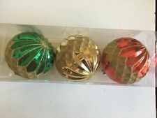 3 Red Green Gold Glitter Christmas Shatter Resistant 4 Inch Ornament Decoration