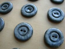 "Vintage Buttons - 24 Iron Gray 2-hole 5/8"" Casein Carved Buttons - France"