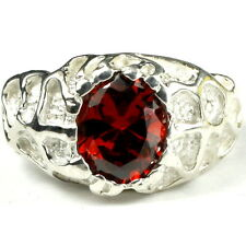 GARNET CZ Sterling Silver Men's Ring -Handmade • SR168