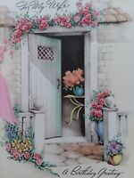 1941 Vtg Rust Craft PINK Ribbon Cottage For WIFE BIRTHDAY GREETING CARD
