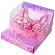 princesse couronne diadème avec collier de perles rose doré Set de jeux carnaval