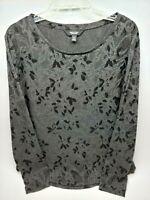 Simply Vera Wang Womens Top Shirt Size XL Gray Black Long Sleeve Floral