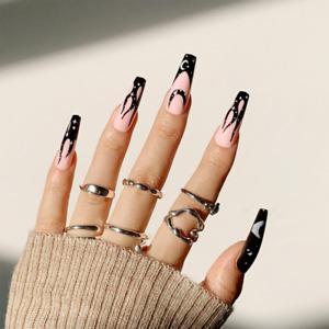 Gothic Black Star Moon Flame Pattern Fake Nails Hot Girl False Press On Nails