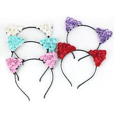 Women Girls Cat Ear Floral Flower Headband Party Costume Head Hair Band Cute