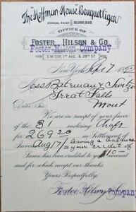 Hoffman House Bouquet Cigar 1892 Letterhead/Receipt - Foster, Hilson & Co. - NY