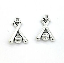 Tibetan Silver Charms pendant baseball for necklace Jewelry Accessories 10pcs