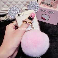 Bling Diamond Fluffy Ball Ears Clear Soft Case Cover for iPhone 8/6S/7 Plus S005