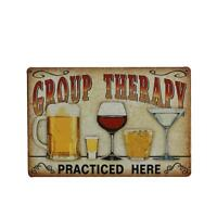Shabby Chic Metal Tin Sign Plaque GROUP THERAPY Picture Bar Hanging Decors