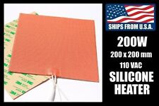 200 x 200mm Industrial Silicone Heater, 200W/110V for 3D Printer Heated Bed