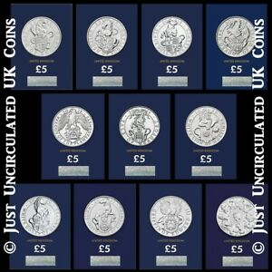 The Queens Beasts Certified BU £5 Coin Set of 11 - Incl Black Bull Of Clarence