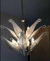 MURANO Franco Luce Seguso Blown White Glass Chandelier Italy Italian Twelf Leaf