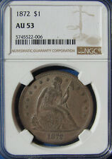 "*VERY STUNNING 1872 SEATED LIBERTY DOLLAR ""SUPER COLOR"" AU-53 NGC*"