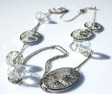 Rhodium Plated Filigree Textured Charm Long Necklace With Glass Crystal J.Goodin