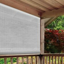 White Cordless Light Filtering UV Protection PVC Manual Roll-Up Shade 48 x 72