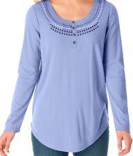 BRAND NWT Soft Violet Soft Knit Henley Shirt w/ Folklore Embroidery PLUS SZ 1X