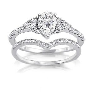 Petite Clear Pear Drop Engagement Wedding CZ Chevron Silver Ring Set