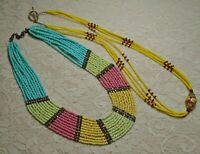 VINTAGE TO NOW MULTI COLOR GLASS SEED BEADED BOHO TRIBAL NECKLACE LOT