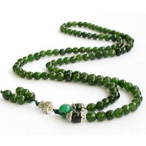 Faceted Green Jade Tibet Buddhist 108 Prayer Beads Mala Necklace
