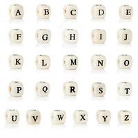 10 Stück Buchstabenperlen Buchstabenwürfel Perlen Buchstaben Holz Wählbar