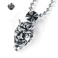 Silver pendant dragon crown sword dorje stainless steel black crystal necklace