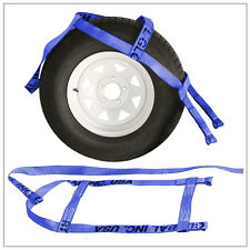 Two (2x) Blue Demco Kar Kaddy Tow Dolly Straps Rugged Weave Axle w/ Loops