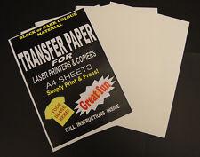 10x A4 LASER e fotocopiatrice MAGLIETTA trasferimento termico SU CARTA FOGLI PER TESSUTI SCURI