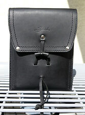 Saddleback Leather Script Logo POUCH WITH STRAP in Black w Smooth Pigskin Lining