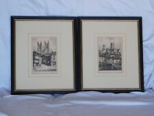 Two Vintage Signed Etchings of Lincoln Cathedral by Tom Waghorn (1900-1959)
