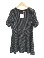 *BNWT* Showpo Size 16 Dress 'Down To My Core' Black Polka Dot Sheath Dress