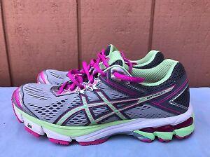 EUC ASICS Women's Gt-1000 4 Running Shoe Silver/Pistachio/Pink Glow US 7 2A
