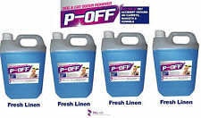 4 X 5L P-OFF PET URINE SMELL ODOUR REMOVER - WEE FAECES POO CAT DO - FRESH LINEN