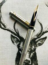 Sheaffer Targa 1001XG GT fountain pen, brushed stainless steel, original box c19