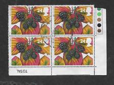 GB ISSUE - QE11 ERA - USED BLOCK OF 4 STAMPS 1993 - AUTUMN FRUITS - BLACKBERRIES
