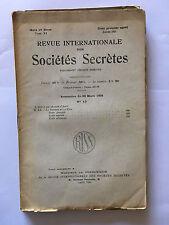 REVUE INTERNATIONALE SOCIETES SECRETES N°13 1931 GUERRE ET PAIX